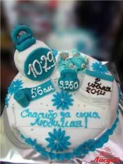 #д160(44) Детский торт с часиками, весами, сантиметром и календарём