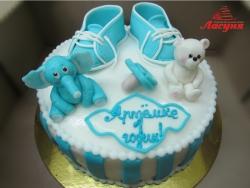 #д180(43) Детский торт с медвежонком и слонёнком для мальчика