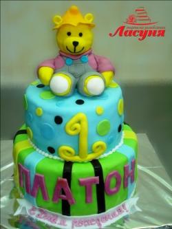#д180(12) Детский торт с медвежонком на 1 годик