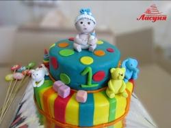 #д180(40) детский торт с фигурками малыша, котёнка, мишки, слоника и др. игрушек