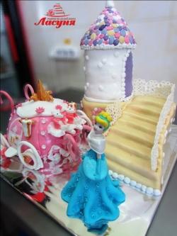 #д200(19) торт Золушка с замком и каретой