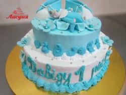#д105(26) Детский торт для мальчика с фигурками младенца и топиков