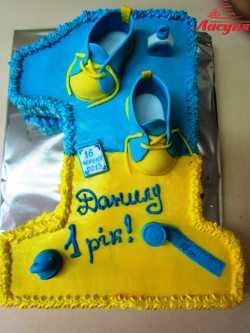#д105(27) Детский торт в форме 1 в желто-голубых патриотических цветах
