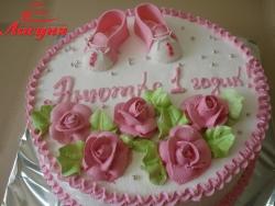 #д115(19) детский торт для девочки на 1 год с топиками