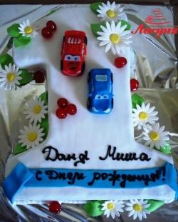 #д150(40) детский торт в форме единички с машинками