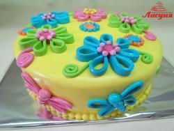 #п150(28) торт с бабочками и цветами