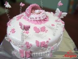 #д220(1) детский торт на крестины с бабочками и колыбелью