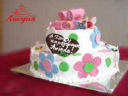 #д115(10) торт с бабочками и цветочками