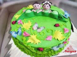 #д130(5) торт для двойни мальчика и девочки