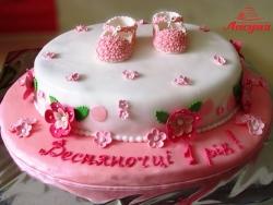 #д150(31) торт на 1 годик для девочки с топиками