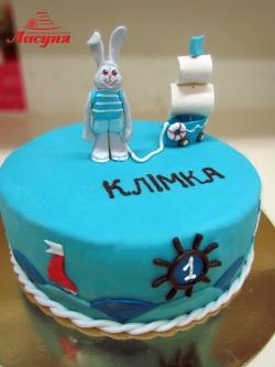 #д150(35) торт для мальчика зайчик с корабликом