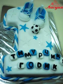 #д150(44) торт для мальчика на 1 годик с мячиком и топиками