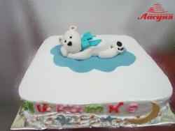 #д160(10) торт белый мишка