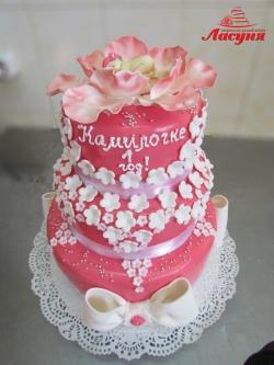 #д160(19) торт на 1 годик для девочки