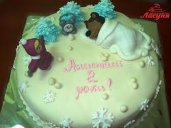 #д160(30) торт Маша и Медведь зимой