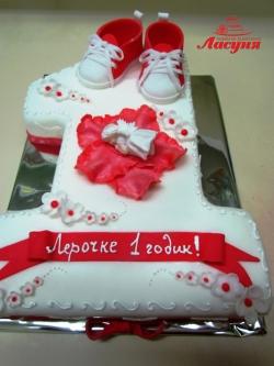 #д160(39) торт в форме цифры 1для девочки