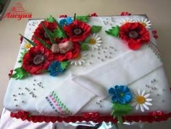 #д160(40) торт в украинском стиле с маками и рушныком