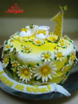 #д160(41) торт на 1 годик с ромашками