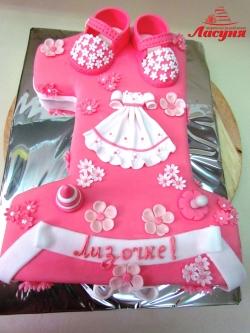 #д160(46) торт на 1 годик для девочки