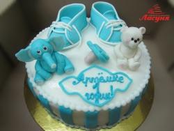 #д160(50) торт на 1 годик для мальчика со слонёнком и медвежонком