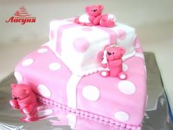 #д180(25) торт для девочки с медвежатами