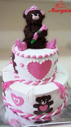 #д180(36) торт для девочки Мишка с букетом