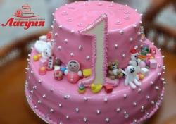 #д180(6) торт на 1 годик для девочки