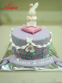 #д200(28) торт на 2 годика для девочки Кролик