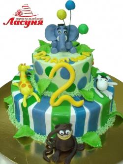 #д200(7) торт на 2 годика Зоопарк