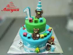 #д220(5) торт на 1 годик с мишками