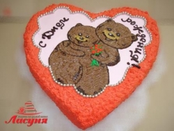 #д95(55) торт сердце с медвежатами