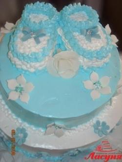 #д95(67) торт с пинетками для малыша