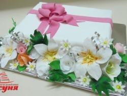 #п160(51) торт на юбилей с цветами