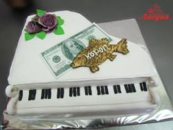 #п180(54) торт прикол фортепиано карп 100 баксов и розы