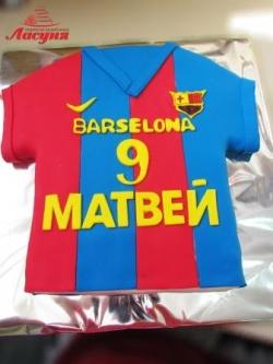 #п200(37) торт для мальчика футбола Барселоны