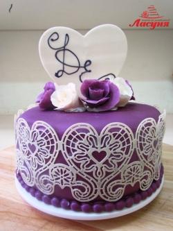 #п200(9) торт для девушки с айсингом и розами