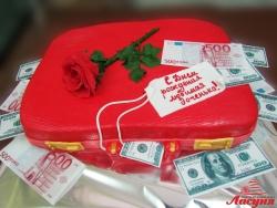 #п220(3) торт кейс с деньгами для девушки