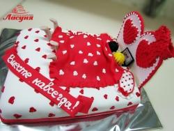 #п220(8) торт кровать для влюблённых