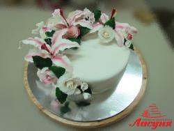 #п250(14) торт с розами и орхидеями