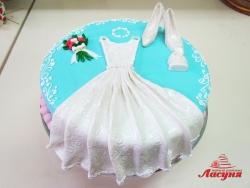 #д180(47) торт для девочки платье, сумочка и туфельки