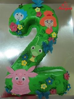 """#д200(23) детский торт на 2 годика с персонажами мультфильмов """"Фиксики"""" и """"Лунтик"""" - Ноликом, Симкой, Кузей и Лунтиком"""