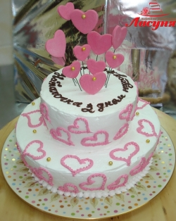 #п115(1) торт с сердечками на 2 яруса
