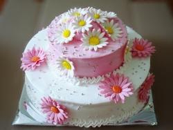 #п115(16) торт с ромашками 2 яруса