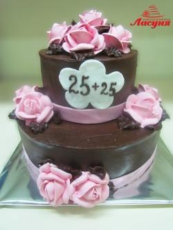 #п115(2) торт на 50 лет шоколадный с розами