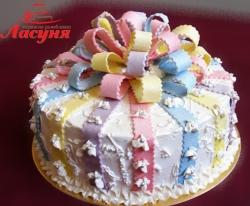 #п115(43) торт с разноцветным бантом