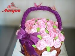 #п115(46) торт корзина с розами