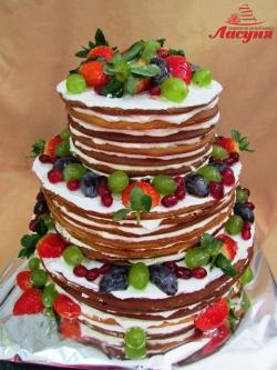 #п115(65) голый торт медовик с фруктами