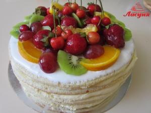 #п115(80) голый торт с фруктами