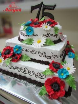 #п130(13) торт на 75 лет в украинском стиле