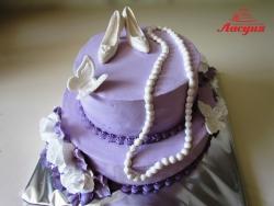 #п130(17) торт для девушки с бусами и туфельками